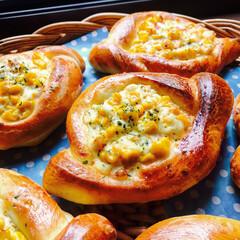 手作りパン #コーンとのハムとチーズのぱん フィリン…