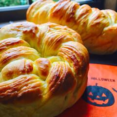 100均/かぼちゃ/手作りパン #かぼちゃシートの折り込みパン🎃  かぼ…