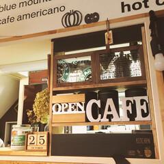 カフェコーナー/キャンドゥ/3COINS/DIY/雑貨/100均/... ここはkitchenカウンターに作った …