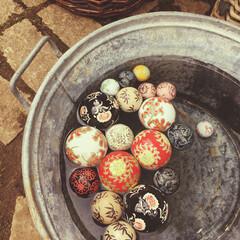 浮き玉/アンティーク/ブリキ桶/桶/ブリキ/おでかけ/... 先日…出先のイベントで お花を扱っていた…