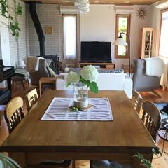 アナベル ダイニングテーブル テー.../北欧インテリア 白いアナベルが涼し気です。ダイニングテー…