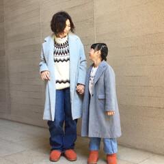 プチプラ/プチプラコーデ/親子コーデ/親コーデ/シミラールック/お揃い/... 子供とリンクコーデ。 柄物セーターや、グ…