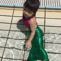 水着/プール/KIDS/お出かけ/人魚/コスプレ/... 今年の次女の水着はビキニ! スカートも付…