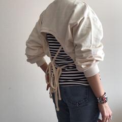 韓国服/ユヌマンション/プチプラ/シンプル/シンプルコーデ/カジュアル/... 今、背中があいていて、紐を結ぶデザインの…