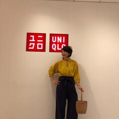 UNIQLO/ユニクロ/プチプラ/プチプラコーデ/ママコーデ/ママファッション/... 立った感じ。 リネンブレンドギャザーブラ…