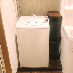 ランドリー/DIY/リフォーム/収納 洗濯機下の防水パンをDIYした木材でカバ…(1枚目)