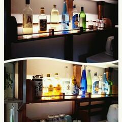 2×4材DIY/ディアウォールDIY/ライトアップ/コーナン/酒棚/既存増築DIY/... 酒棚にグラス棚を追加
