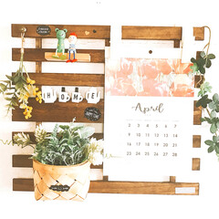 カレンダー/グリーン/100均/インテリア/ハンドメイド ただカレンダーを貼っていた場所を変えてみ…