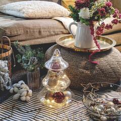 海外インテリアに憧れる/ナチュラルインテリア/花のある暮らし/クリスマス2019/リミアの冬暮らし/ダイソー/... ガラスのツリーにダイソーのオーナメントを…