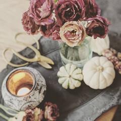 トルコキキョウ/キャンドル/花のある暮らし/ハロウィン/ホワイトカボチャ/雑貨/... 部屋の中で、カボチャや雑貨でハロウィンを…