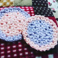 好きな色/コースター/リフ編み/編み物/ハンドメイド 無性に編みたくなるリフ編みw スマホ新し…