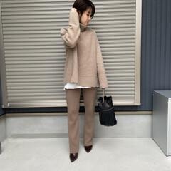 mama/コーディネート/ママコーデ/ファッション ワントーンでまとめたニットスタイル❤️ …