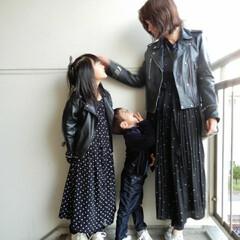 リンクコーデ/outfit/code/秋/おでかけ/ファッション ファミリーでドットにライダースで 甘辛c…