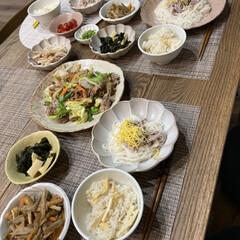 Dinner/ごはん/おうちごはん/暮らし/食器/晩ご飯 暑かった日素麺も解禁❤️ さっぱりした喉…(1枚目)