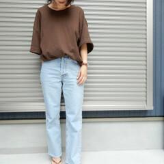 ママコーデ/outfit/コーディネート/code/ファッション シンプルにデニムとTシャツな コーディネ…