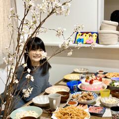 桜/ひな祭りパーティー/ひな祭り/ピンク/暮らし 今日はお雛様なので 自宅でパーティ🌸桜の…