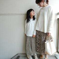 親子リンクコーデ/コーディネート/code/fashion/ファッション ワッフルロンティに レオパードスカートで…