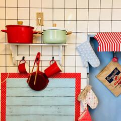 キッチン雑貨/雑貨/インテリア/ニトリ/イケア/IKEA ガスコンロの壁面 ホーロー鍋が好き ちょ…