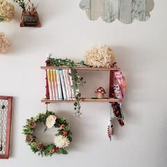 壁面収納棚/フェイクグリーン/ドライ紫陽花/リース/ディッシュスタンド/JK娘のご要望 娘のご要望で本棚を作りました‼️ ついで…(1枚目)