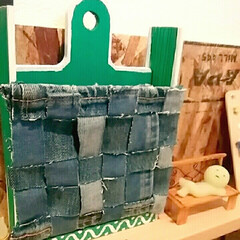 カッティングシート/割り箸/デニム生地/DIY へんてこな形になっちゃいましたがlett…