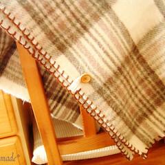 ハンドメイド/クラフト/ソーイング/ひざ掛け毛布/リメイク/ブランケットステッチ/... 以前から愛用している電気ひざ掛け毛布、暖…