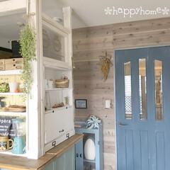 収納棚/足場板/ドアペイント/ディアウォール/板壁DIY/DIY/... キッチンカウンター部分です(*´꒳`*)
