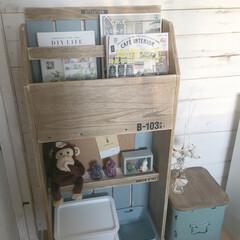 こども部屋/本棚/スノコ/端材 端材とスノコを使って本棚を作りました♪