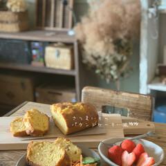 古道具のある暮らし/ワンプレート/朝ごパン/おうちカフェ/暮らし さつまいものパウンドケーキを焼きました。