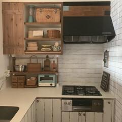 古道具のある暮らし/かご収納/ディアウォール棚DIY/DIY/キッチン雑貨/キッチン/... キッチンdiy