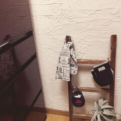 レンガ風/サンギ/足場板/woodPro/ラダー/漆喰壁DIY 漆喰壁DIYとラダーを作りました♪