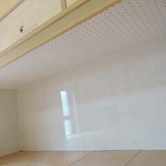 愛犬家住宅/エコカラット/ナノイー/ニオイ/吸音用有孔ボード/音対策/... 造作家具の下部に設けたケージスペースには…