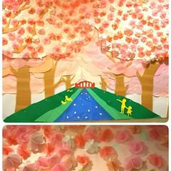 壁面/春の工作/桜/雑貨/100均/セリア/... 手順を間違えたりで… 桜の時期に間に合い…