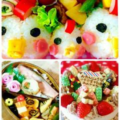 キャラ弁/レゴ/バースデー/ケーキ/デコレーション/食欲の秋 子供のお弁当&ケーキ🎂 旦那様のお弁当🍱…