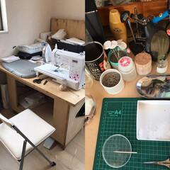 わたしの作業部屋 向かって右は自室、つまみ細工をする時はこ…(1枚目)