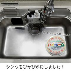 ハイホーム 400g×2個セット クレンザー エコクリーナー 汚れ落とし キッチン 大掃除 エコ 汚れ 綺麗 eco 石鹸 天然(クレンザー)を使ったクチコミ「キッチンのシンクをぴかぴかにしました✧ …」(1枚目)