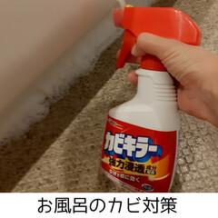 ジョンソン カビキラー本体 400g | JOHNSON(防カビ洗剤)を使ったクチコミ「お風呂のカビ掃除をしました🌟  ゴム手袋…」(1枚目)