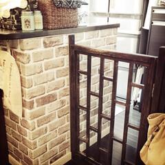 リフォーム/DIY/インテリア/家具/住まい/キッチン/... キッチン入口、わんこ用パタパタゲート。掃…