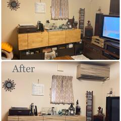 目隠しシール/壁紙DIYショップ/リビング収納/DIY/エアコンカバー/壁紙リメイク/... *気になっていたリビングのエアコン、家具…(1枚目)