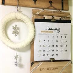 カレンダーホルダー/100均/セリア/インテリア/雑貨/DIY 連投失礼します😊 壁掛けカレンダー掛け🗓…