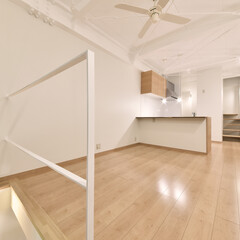 ナチュラル/リビング/天井塗装/L字キッチン/オーダー 家族みんなの憩いの場となります。