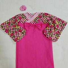 髪どめ/初節句/着物/衣装/わたしの手作り 娘の初節句のお祝い用に着物を手作りしまし…