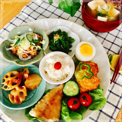 ワンプレート/朝ご飯/お家ご飯/フード/ハンドメイド 今日の 朝ご飯 ご飯(小梅)   味噌汁…
