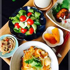 朝ご飯/お家ご飯/フード 朝ご飯 玉子丼 めかじき味噌漬け サラダ…
