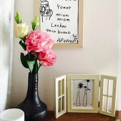 手作り/花瓶/花/トルコキキョウ/雑貨/100均/... 自作の 花瓶に トルコキキョウを いれて…