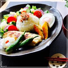 朝ご飯/お家ご飯/ワンプレート/フード 朝ご飯 ご飯(梅ちりめん) 味噌汁(大根…
