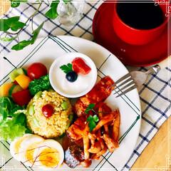 ワンプレート/朝ご飯/おうちごはん/フード おはようございます☀️  久しぶりに 朝…