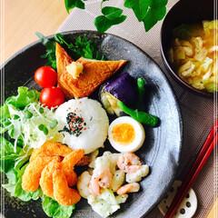 お家ご飯/ワンプレート/朝ご飯/フード 朝ご飯  小海老フライ  生野菜 焼き薩…