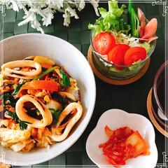 朝ご飯/イカ/手作り/梅雨/おうちごはん 朝ご飯  イカの コチジャン炒め丼 サラ…