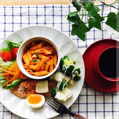 お家ご飯/ワンプレート/朝ご飯/フード 今日の 朝ご飯 ペンネ(トマトガーリック…