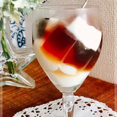 手作り/ゼリー/デザート/フード 暑い日は  コーヒーと 牛乳で  2色ゼ…